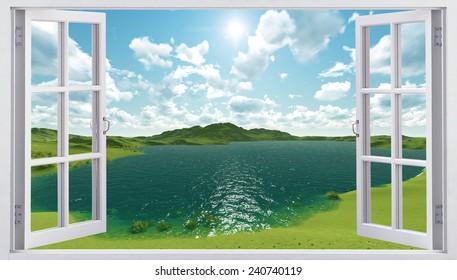 The open window overlooking the lake