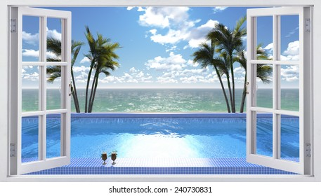 The open window overlooking the pool