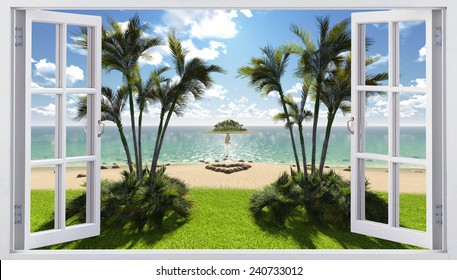 Open window with sea view