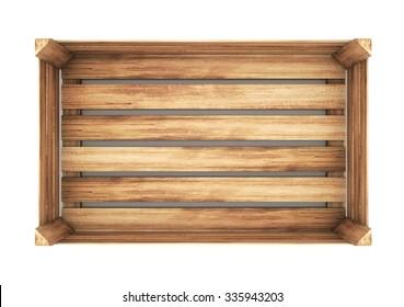open wooden box. close up. 3d illustration