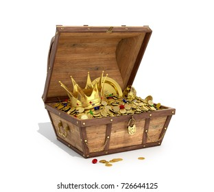 Open a wooden trunk with treasures on a white background. 3D illustration