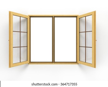 open wooden window isolated on white