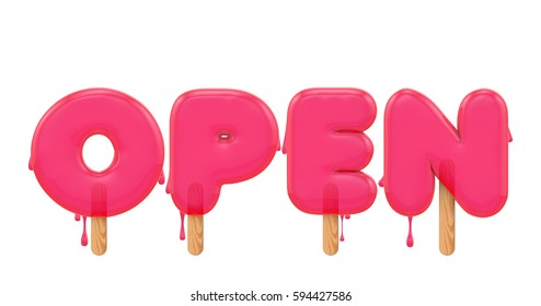 Open - word made from melting ice lolly letters. 3D rendering