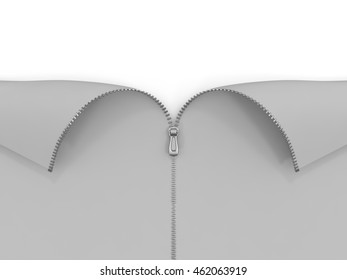 Open zipper on white background. 3D illustration