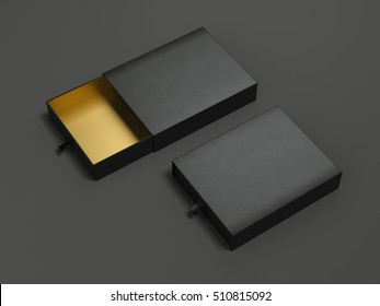 Opened black cardboard packages on dark floor. 3d rendering