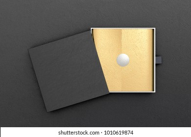 Opened black drawer sliding box with gift wrap foil on black background. Include clipping path around box. 3d illustration