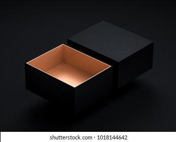 Opened Black Gift Box Mockup flying above black background, 3d rendering