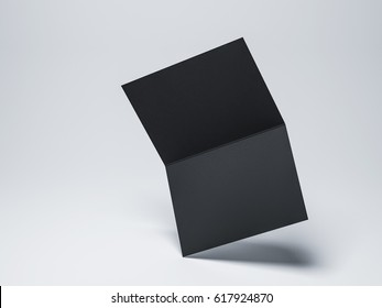 Opened Black leaflet, flying invitation Mockup, greeting card, postcard, 3d rendering