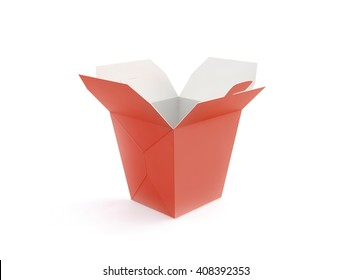 Opened blank fast food box mockup stand isolated, 3d rendering. Empty clear noodle carton box mock up. Take away chicken paper bag template. Meal container fries packaging. Nuggets, wings, wok pack.