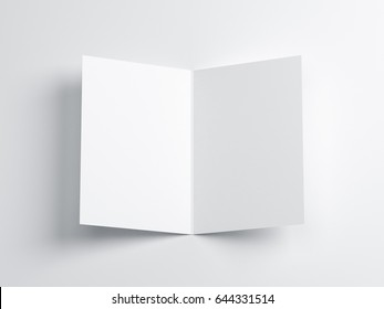 Opened blank greeting card Mockup, Top view on leaflet or invitation, 3d rendering