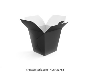 Opened blank meal box mockup stand isolated, 3d rendering. Empty clear noodles carton box mock up. Asian take away wok paper bag template. Chinese udon container  packaging. Black fastfood package.
