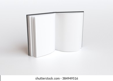 Opened book with blank white pages, mock up, 3D render