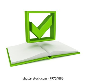 Opened book and green tick mark.Isolated on white background.3d rendered.