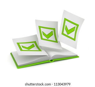 Opened book and green tick marks.Isolated on white. 3d rendered.