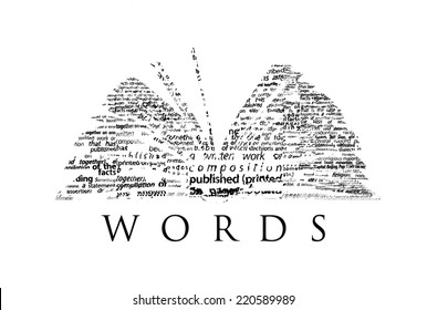 "An opened book made of black words on a white background with the word ""WORDS"" under it - Word cloud"