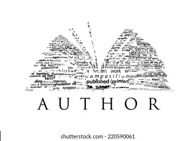 "An opened book made of black words on a white background with the word ""AUTHOR"" under it - Word cloud"