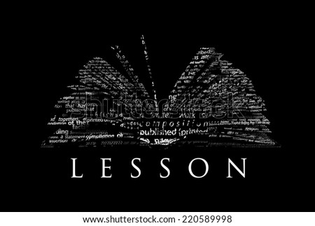 an opened book made of white words on a black background with the word lesson