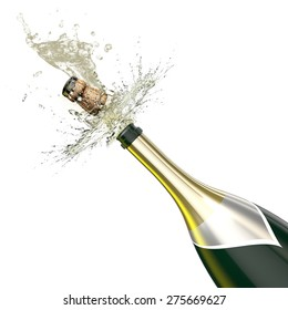 Opened bottle of champagne foaming with flying cork close-up. This illustration represents the celebration.