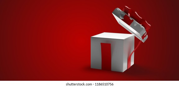opened christmas present surprise box 3d-illustration christmas background