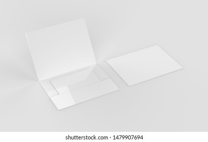 Opened and close Paper Envelope Mock up. 3d illustration