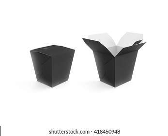 Opened and closed black blank wok box mockup stand isolated, 3d rendering. Empty clear noodle carton box mock up. Asian take away food paper bag template. Chinese meal container packaging. Rice, udon