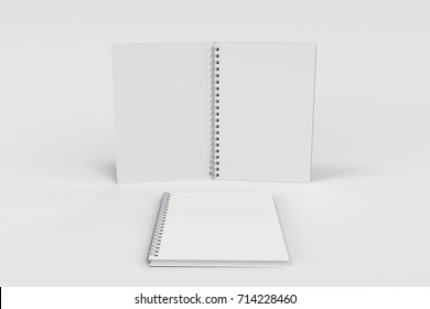 Opened and closed blank notebooks with white cover and metal spiral bound on white background. Business or education mockup. 3D rendering illustration