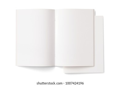 Opened and closed Portrait Magazines with blank pages and cover isolated on white. 3d Illustration for your presentation.