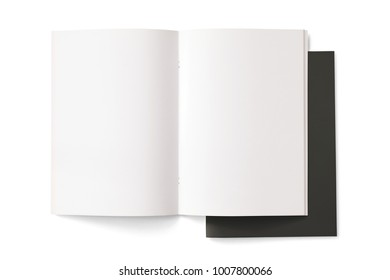 Opened and closed Portrait Magazines with blank pages and black cover isolated on white. 3d Illustration for your presentation.