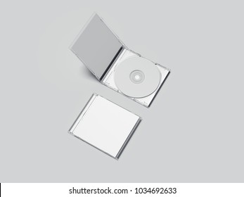 Opened and closed white disk packages with blank labels. 3d rendering