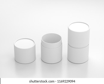Opened and closed White Tube Tin can Mockup, cylindrical Packaging in white studio, 3d rendering