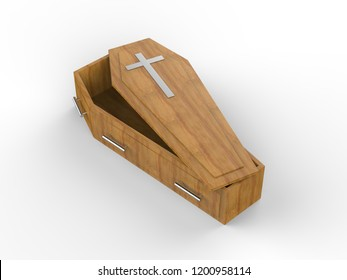 Opened and Closed Wooden coffin isolated on white background, 3d illustration.