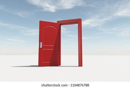 Puerta abierta - el concepto de oportunidad. Esta es una ilustración de representación 3d