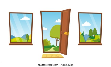 Opened Door And Windows. Cartoon Flat Summer Landscape. Home Interior. Front View. Freedom Concept. Isolated Illustration.