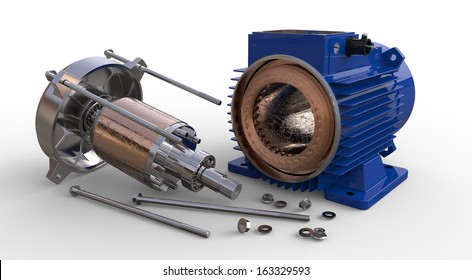 Opened electric motor isolated on white background