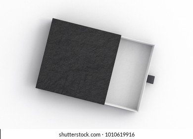 Opened empty black drawer sliding box on white background. Isolated with clipping path around box. 3d illustration
