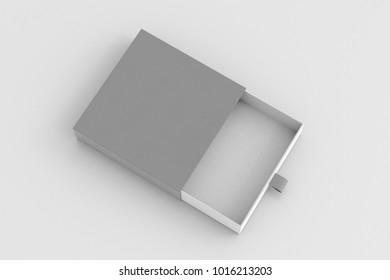 Opened empty gray drawer sliding box on white background. Isolated with clipping path around box. 3d illustration