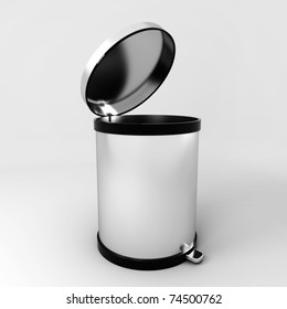Opened empty modern trash can