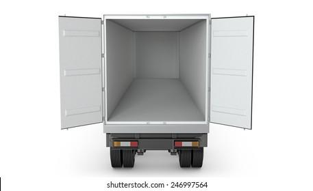 Opened empty semi-trailer isolated on white background