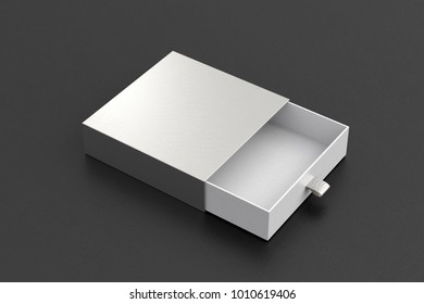 Opened empty silver drawer sliding box on black background. Isolated with clipping path around box. 3d illustration