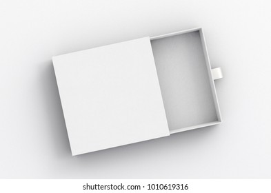Opened empty white drawer sliding box on white background. Isolated with clipping path around box. 3d illustration
