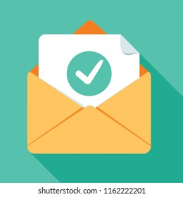 Opened envelope and document with green check mark line icon. Official confirmation message, mail sent successfully, e-mail delivery, verification email. Long shadow flat design illustration