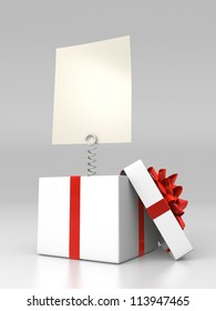 Opened gift box with blank card