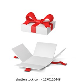 Opened gift box with colourful bow and ribbon. 3d illustration isolated on white background