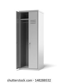 Opened grey metal sports lockers