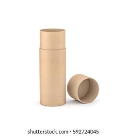 Opened Kraft Brown paper tube tin can packaging Mockup, 3d rendering