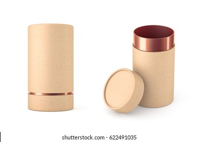 Opened Kraft paper tube with golden cardboard tin can Mockup, 3d rendering
