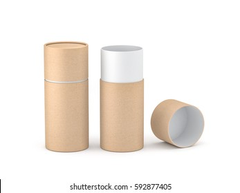 Opened Kraft paper tube tin can Mockup, 3d rendering