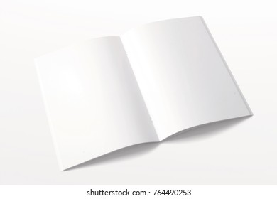 Opened magazine or Brochure isolated on white. 3d render of blank pages. Mockup template for your showcase.
