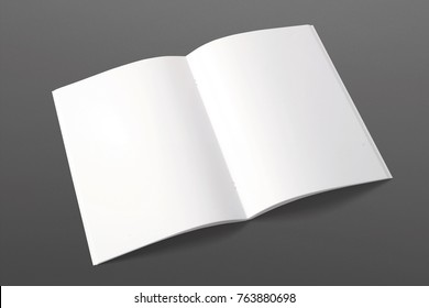 Opened magazine isolated on black. 3d render of blank pages. Mockup template for your showcase.