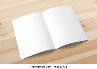 Opened magazine on wooden background. Blank pages 3d render. Mockup template for your showcase.